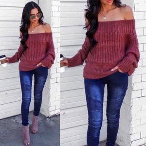 AIKO Off Shoulder Knit Sweater - H. GREY